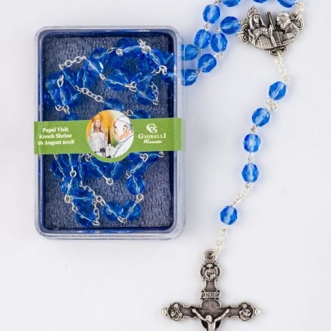 Blue Papal Rosary - Ghirelli in box