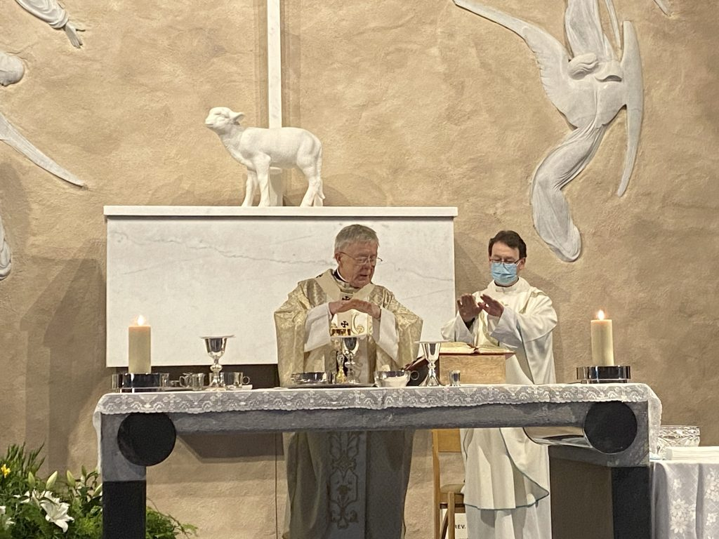 Archbishop Michael Neary and Fr Francis Mitchell at Mass in Apparition Chapel 19_3_21