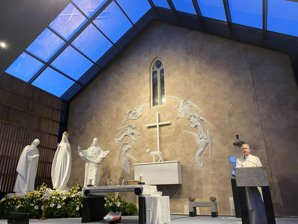 Fr Richard Gibbons in Apparition Chapel (2) at Knock Shrine 19_3_21 Photo Sinead Mallee