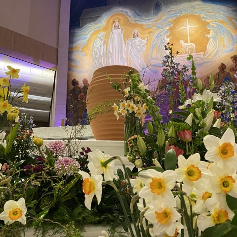 Easter Holy Water on the sanctuary of Knock Basilica. Photo Sinead Mallee