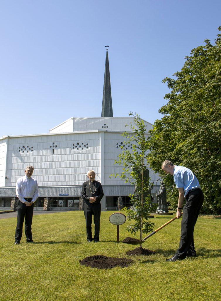 2. Bishop Denis Nulty planting an Irish Oak Tree at Knock Shrine (See file info)