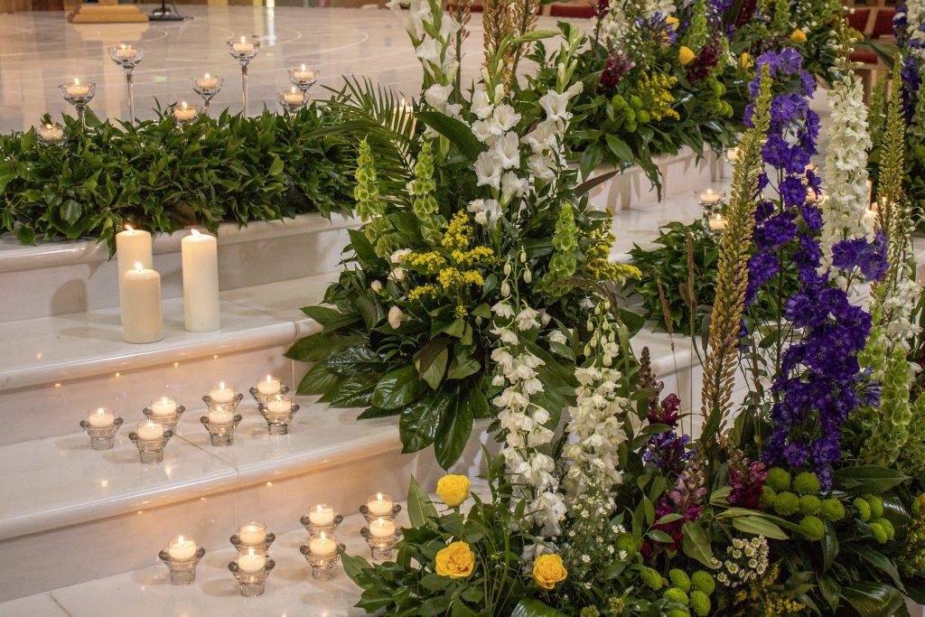 Flowers on the sanctuary closeup