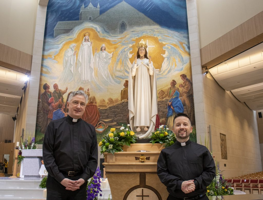 Fr Richard Gibbons and Deacon David Irwin after the Eurovision Mass on the Feast of the Assumption,15 Aug 2021